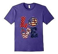 Love Softball Usa Flag 4th Of July Flip Flop Softball Usa Shirts Purple