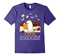 Halloween Day Cute Boo Love Books Tee Funny Librarian Gifts T Shirt Purple