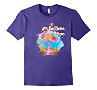 Pink Flamingo Believe Hope Breast Cancer Awareness Month Premium T Shirt Purple