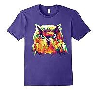 Owl Pop Art Style T Shirt Design Purple