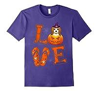 Love Beagle Pumpkin Halloween T-shirt Halloween Gifts Purple