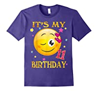 It's My 11th Birthday Girl 11 Years Old Gift Cute Face Shirts Purple