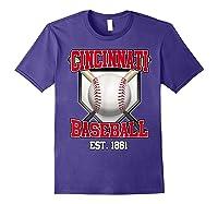 Cincinnati Baseball Retro Vintage Baseball Design Shirts Purple