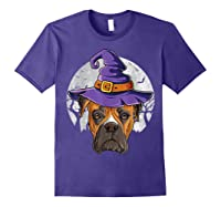 Boxer Witch Hat Funny Halloween Gifts Dog Lover Girls T-shirt Purple