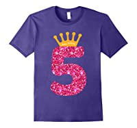 Happy Birthday Shirt, Girls 5th Party 5 Years Old Bday Purple