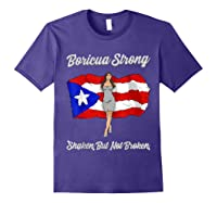 Boricua Strong Shaken But Not Broken Puerto Rican Flag Gift Shirts Purple