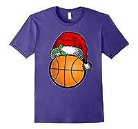 Ball Basketball Santa Hat Christmas Matching Funny Gifts Shirts Purple