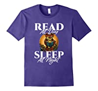 Sleep All Day Read All Night Bookish Read A Book Day Owl T Shirt Purple