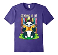 Reading Is Lit Panda Bear Funny English Tea Tee T Shirt Purple