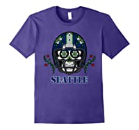 Seattle Football Helmet Sugar Skull Day Of The Dead T Shirt Purple