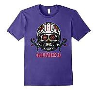 Arizona Football Helmet Sugar Skull Day Of The Dead T Shirt Purple
