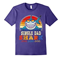 Vintage Single Dad Shark T Shirt Birthday Gifts For Family Purple