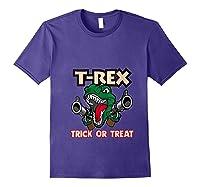 T Rex Arms Trick Or Treat Halloween Shirts Purple