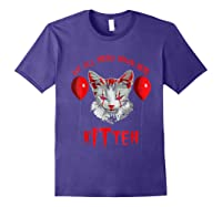 We All Meow Down Here Kitten Halloween Scary Cat T-shirt Purple