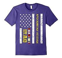 Proud Iraq Afghanistan Veteran Flag Gifts For Veteran Day T Shirt Purple