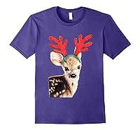 Cute Festive Fawn Wearing Reindeer Antlers Shirts Purple