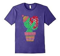 Cactus Christmas Tree Gift Santa Xmas Succulent Plant Lover T-shirt Purple