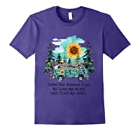 Sunflower Into The Forest I Go To Lose My Mind Hippie Shirt Purple