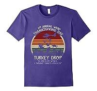 Thanksgiving Turkey Funny Wkrp Turkey Drop Shirts Purple