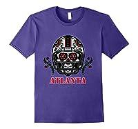 Atlanta Football Helmet Sugar Skull Day Of The Dead T Shirt Purple
