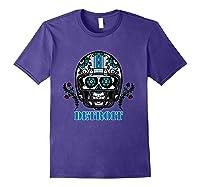 Detroit Football Helmet Sugar Skull Day Of The Dead T Shirt Purple