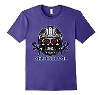 New England Football Helmet Sugar Skull Day Of The Dead T Shirt Purple