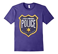 Grammar Police To Correct And Serve Shield Badge T Shirt Purple