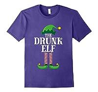 Drunk Elf Matching Family Group Christmas Party Pajama Shirts Purple