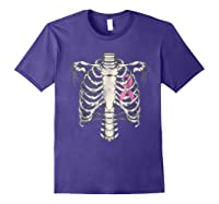 Skeleton Halloween Shirt Breast Cancer Awareness Month Tee Purple