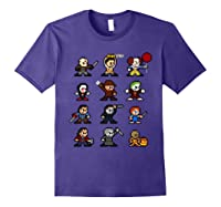 Friends Pixel Halloween Icons Scary Horror Movies Shirts Purple