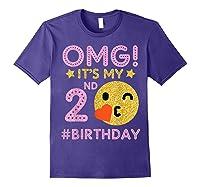 Cute Vintage Retro Emotion Face Omg It's My 2nd Birthday Shirts Purple