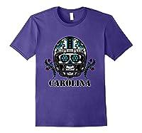 Carolina Football Helmet Sugar Skull Day Of The Dead T Shirt Purple
