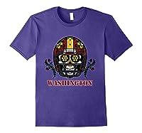 Washington Football Helmet Sugar Skull Day Of The Dead T Shirt Purple