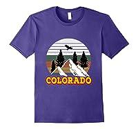 Vintage Outdoor Lovers Colorado Mountains Retro T-shirt Purple