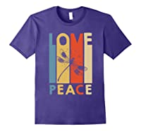 Love Peace Dragonfly Hippie Funny Shirts Purple