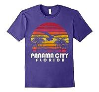 Vintage Retro Pa City Fl Florida Sunset Distressed Style T Shirt Purple