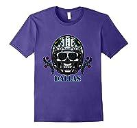 Dallas Football Helmet Sugar Skull Day Of The Dead T Shirt Purple
