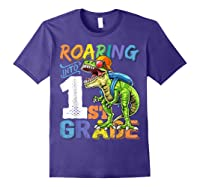 Roaring 1st Grade Dinosaur Back To School Backpack Shirt Boy Purple