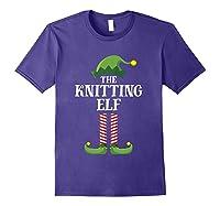Knitting Elf Matching Family Group Christmas Party Pajama Shirts Purple