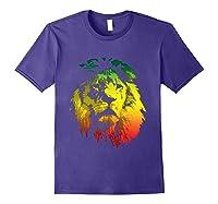 Lion Rasta Colors Rastafari Pride Reggae Inspired Shirts Purple