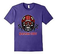 Kansas City Football Helmet Sugar Skull Day Of The Dead T Shirt Purple