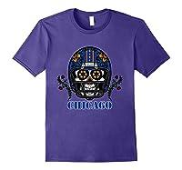 Chicago Football Helmet Sugar Skull Day Of The Dead T Shirt Purple