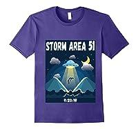 Storm Area 51 Raid Ufo Alien Aliens 92019 Back Print Shirts Purple