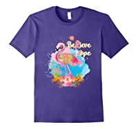 Pink Flamingo Believe Hope Breast Cancer Awareness Month T Shirt Purple