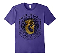 March Girl The Soul Of A Mermaid Tshirt Funny Gifts Purple