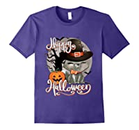 Happy Halloween Cute Cat In Witch Hat Pumpkin Spooky Novelty T Shirt Purple