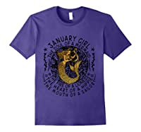 January Girl The Soul Of A Mermaid Tshirt Funny Gifts T Shirt Purple