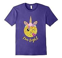 8th Birthday Emoticon Shirt Unicorn 8 Year Girl Sweet Face T-shirt Purple