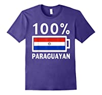 Paraguay Flag T Shirt 100 Paraguayan Battery Power Tee Purple