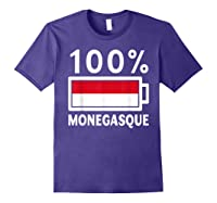 Monaco Flag T Shirt 100 Monegasque Battery Power Tee Purple